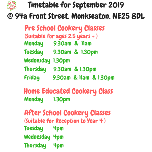 Copy of Copy of Copy of Timetable for September 2018